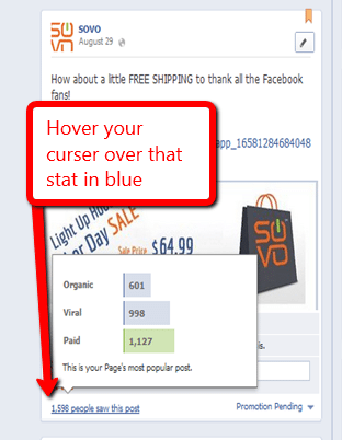 stats for facebook promoted post