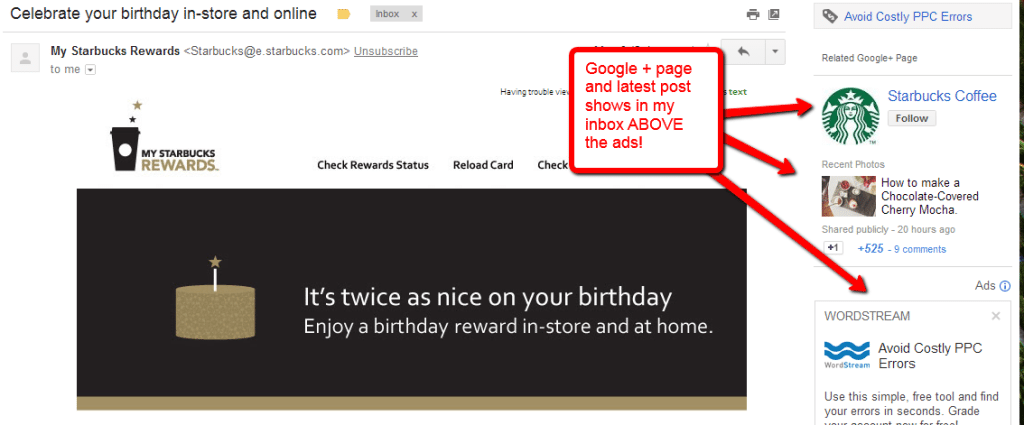 google+ branding page in inbox