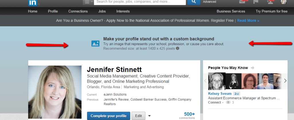 How to use custom backgrounds on LinkedIn | eJenn Solutions