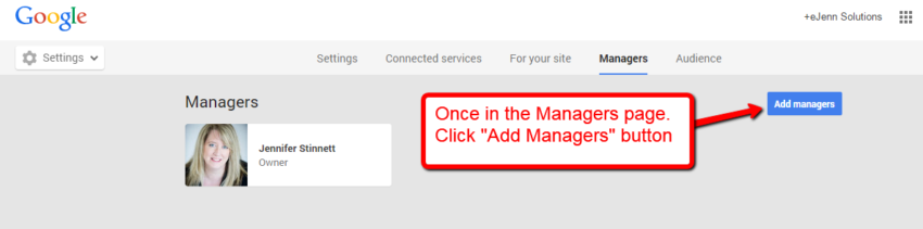 add managers on google plus