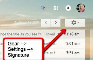 set up signature on gmail